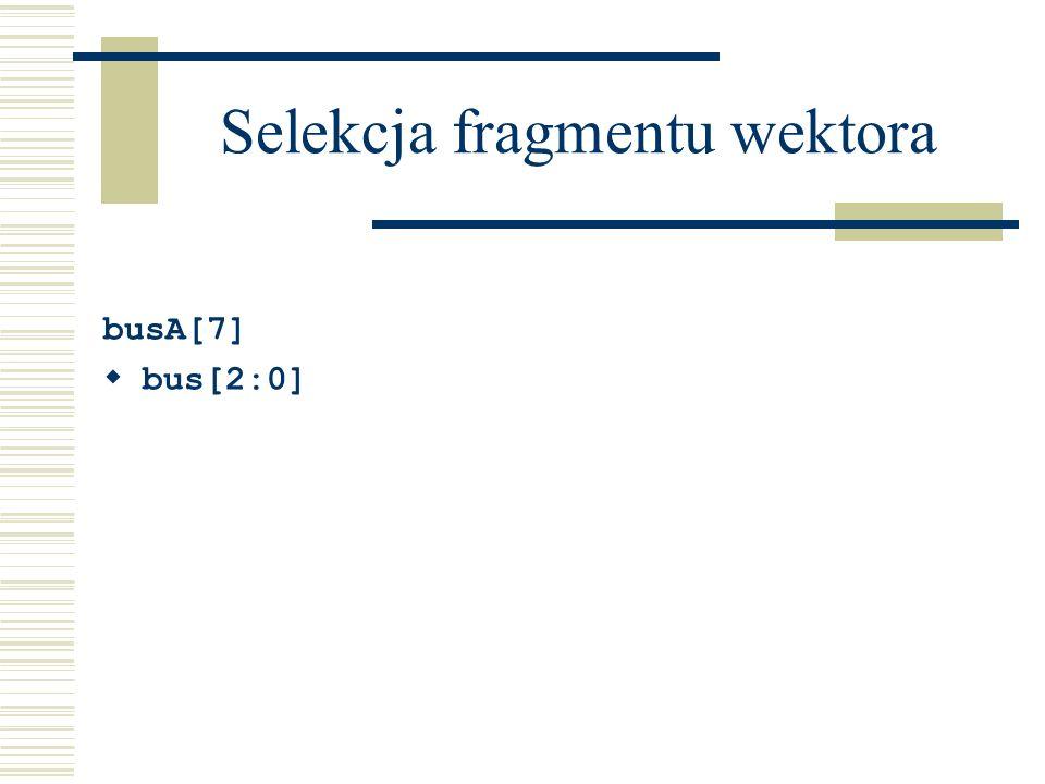Selekcja fragmentu wektora busA[7] bus[2:0]