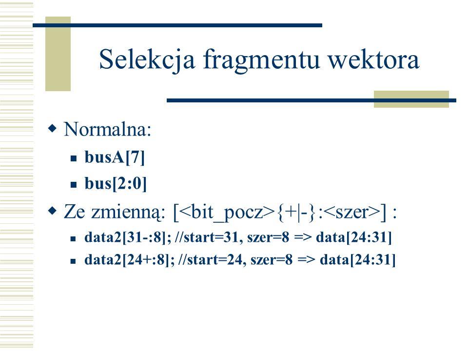 Normalna: busA[7] bus[2:0] Ze zmienną: [ {+ -}: ] : data2[31-:8]; //start=31, szer=8 => data[24:31] data2[24+:8]; //start=24, szer=8 => data[24:31]
