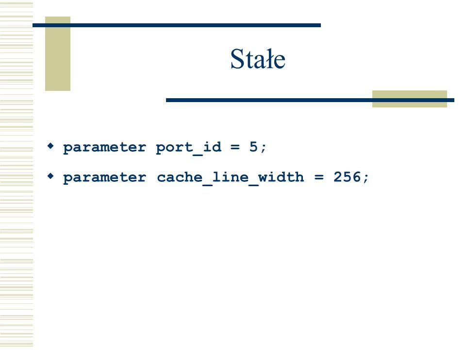 Stałe parameter port_id = 5; parameter cache_line_width = 256;