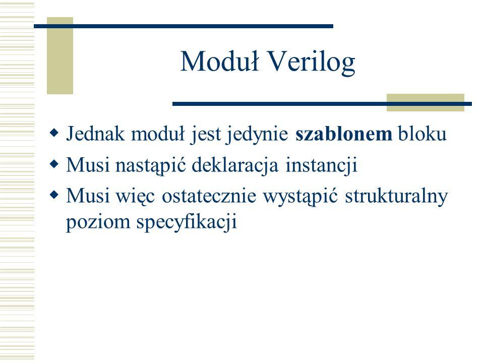 Moduł Verilog Jednak moduł jest jedynie szablonem bloku Musi nastąpić deklaracja instancji Musi więc ostatecznie wystąpić strukturalny poziom specyfik