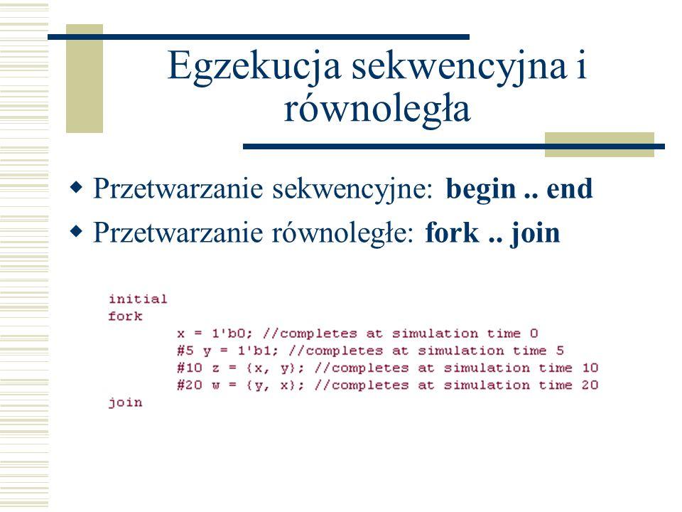 Egzekucja sekwencyjna i równoległa Przetwarzanie sekwencyjne: begin.. end Przetwarzanie równoległe: fork.. join