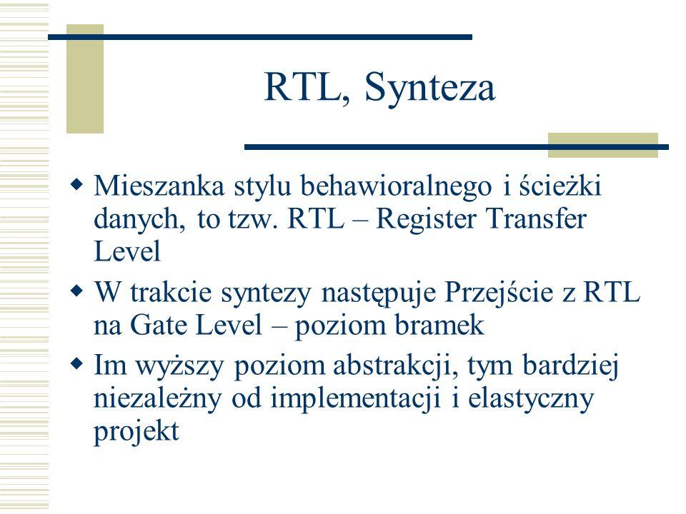 RTL, Synteza Mieszanka stylu behawioralnego i ścieżki danych, to tzw. RTL – Register Transfer Level W trakcie syntezy następuje Przejście z RTL na Gat