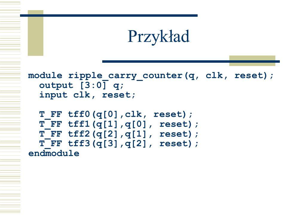 Wire, reg W VHDL – signal W Verilog: wire – połączenie między blokami w opisie strukturalnym reg – zmienna (alokacja pamięci do przechowywania jakiejś wartości) Deklaracje: np.
