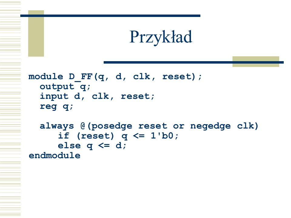Przykład module D_FF(q, d, clk, reset); output q; input d, clk, reset; reg q; always @(posedge reset or negedge clk) if (reset) q <= 1'b0; else q <= d