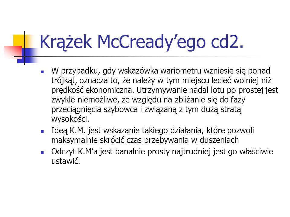 Krążek McCreadyego cd2. W przypadku, gdy wskazówka wariometru wzniesie się ponad trójkąt, oznacza to, że należy w tym miejscu lecieć wolniej niż prędk