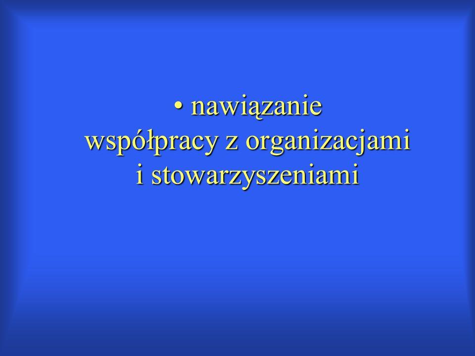 nawiązanie współpracy z organizacjami i stowarzyszeniami nawiązanie współpracy z organizacjami i stowarzyszeniami