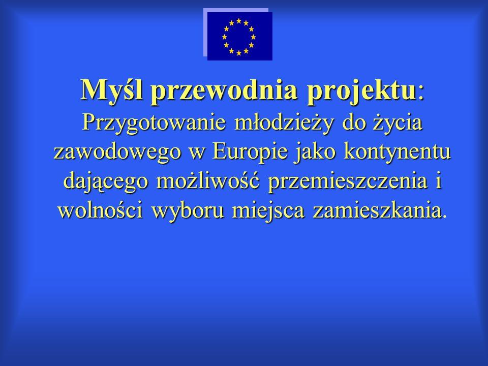 Myśl przewodnia projektu: Przygotowanie młodzieży do życia zawodowego w Europie jako kontynentu dającego możliwość przemieszczenia i wolności wyboru m