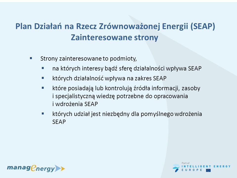 Plan Działań na Rzecz Zrównoważonej Energii (SEAP) Zainteresowane strony Strony zainteresowane to podmioty, na których interesy bądź sferę działalnośc