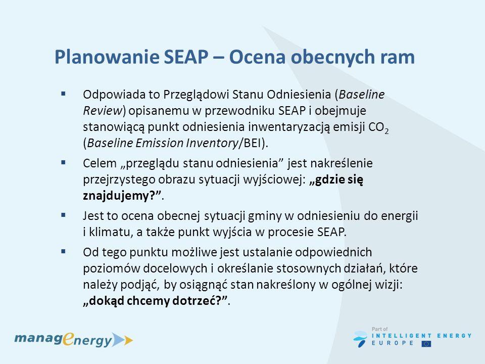 Planowanie SEAP – Ocena obecnych ram Odpowiada to Przeglądowi Stanu Odniesienia (Baseline Review) opisanemu w przewodniku SEAP i obejmuje stanowiącą p