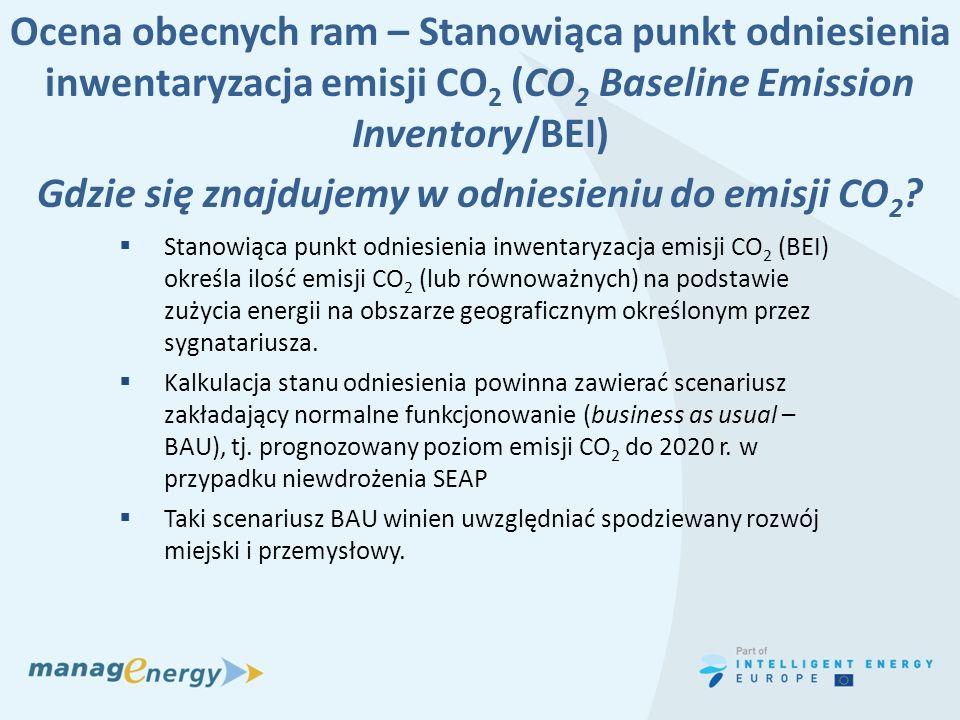 Ocena obecnych ram – Stanowiąca punkt odniesienia inwentaryzacja emisji CO 2 (CO 2 Baseline Emission Inventory/BEI) Gdzie się znajdujemy w odniesieniu