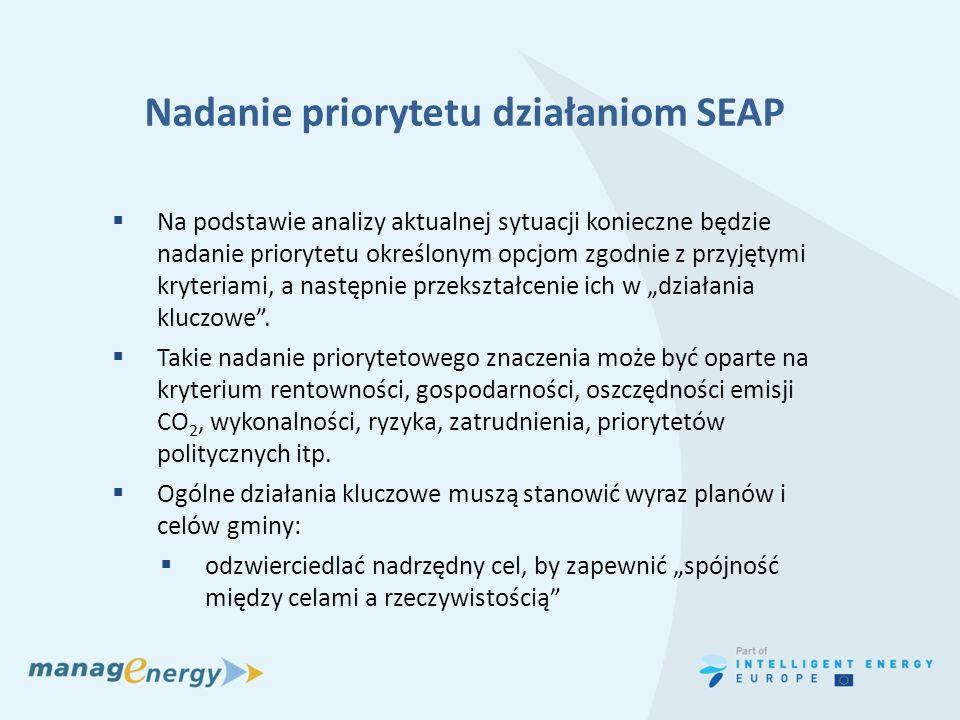 Nadanie priorytetu działaniom SEAP Na podstawie analizy aktualnej sytuacji konieczne będzie nadanie priorytetu określonym opcjom zgodnie z przyjętymi