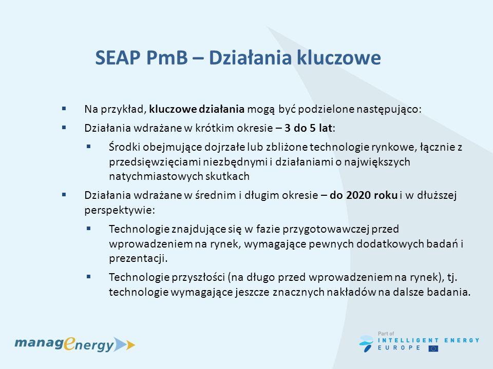 SEAP PmB – Działania kluczowe Na przykład, kluczowe działania mogą być podzielone następująco: Działania wdrażane w krótkim okresie – 3 do 5 lat: Środ