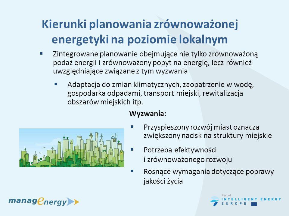 Kierunki planowania zrównoważonej energetyki na poziomie lokalnym Zintegrowane planowanie obejmujące nie tylko zrównoważoną podaż energii i zrównoważo