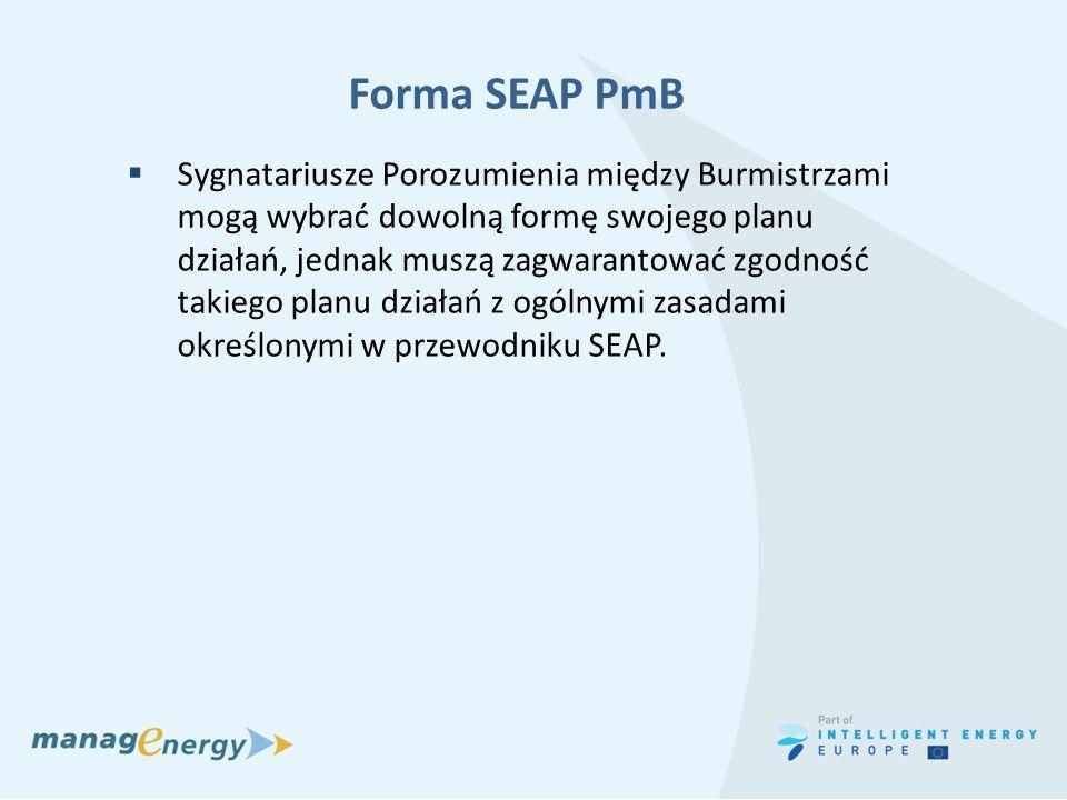 Forma SEAP PmB Sygnatariusze Porozumienia między Burmistrzami mogą wybrać dowolną formę swojego planu działań, jednak muszą zagwarantować zgodność tak