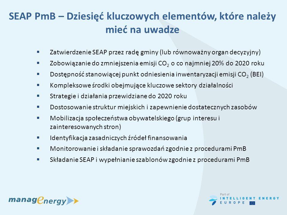 SEAP PmB – Dziesięć kluczowych elementów, które należy mieć na uwadze Zatwierdzenie SEAP przez radę gminy (lub równoważny organ decyzyjny) Zobowiązani