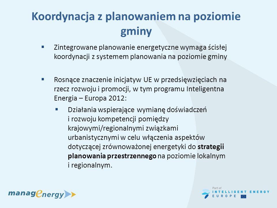 Koordynacja z planowaniem na poziomie gminy Zintegrowane planowanie energetyczne wymaga ścisłej koordynacji z systemem planowania na poziomie gminy Ro