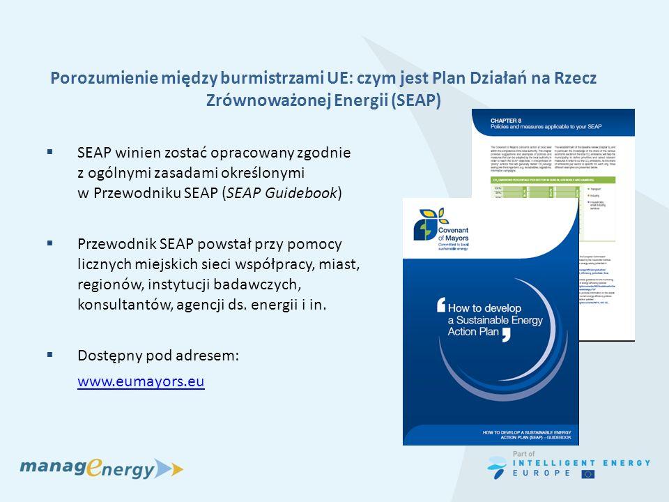 Porozumienie między burmistrzami UE: czym jest Plan Działań na Rzecz Zrównoważonej Energii (SEAP) SEAP winien zostać opracowany zgodnie z ogólnymi zas