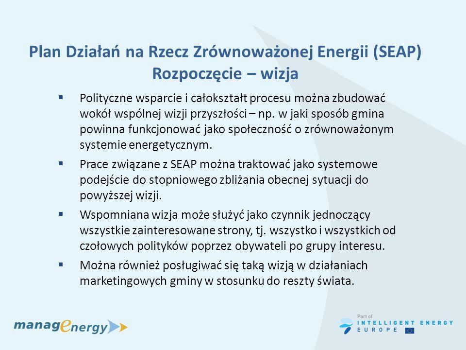 Plan Działań na Rzecz Zrównoważonej Energii (SEAP) Rozpoczęcie – wizja Polityczne wsparcie i całokształt procesu można zbudować wokół wspólnej wizji p