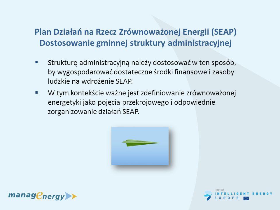 Plan Działań na Rzecz Zrównoważonej Energii (SEAP) Dostosowanie gminnej struktury administracyjnej Strukturę administracyjną należy dostosować w ten s