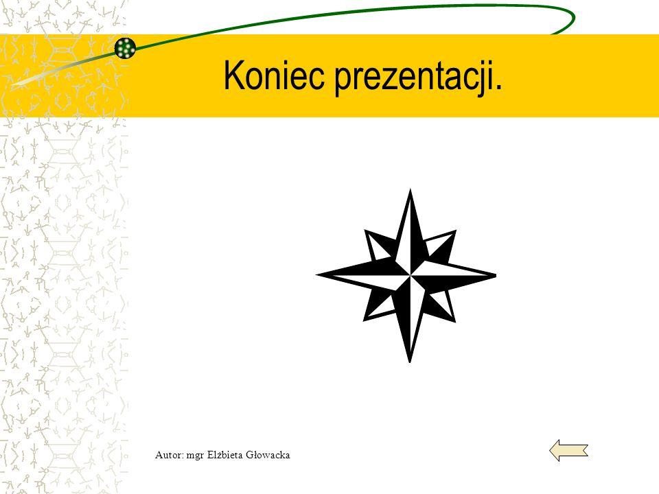 Koniec prezentacji. Autor: mgr Elżbieta Głowacka