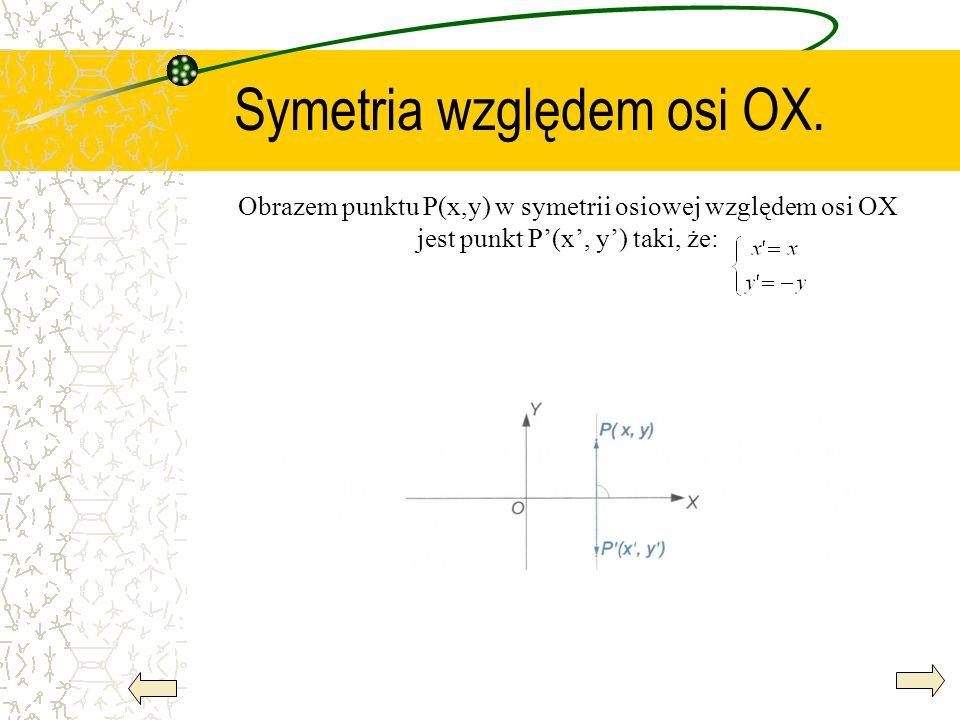Symetria względem osi OX. Obrazem punktu P(x,y) w symetrii osiowej względem osi OX jest punkt P(x, y) taki, że: