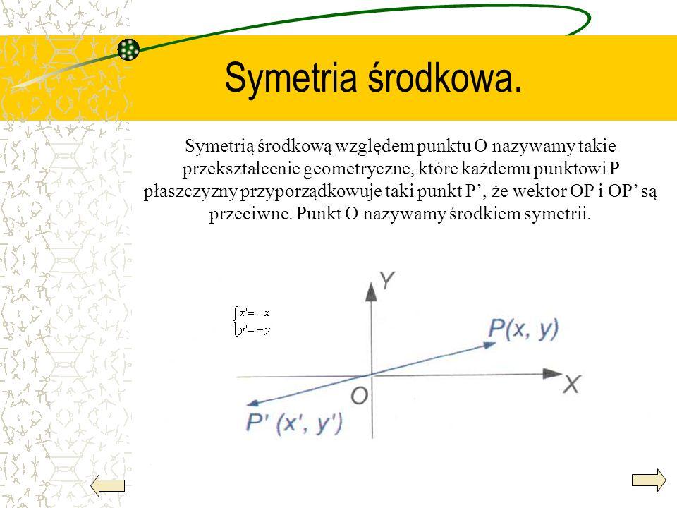 Symetria środkowa. Symetrią środkową względem punktu O nazywamy takie przekształcenie geometryczne, które każdemu punktowi P płaszczyzny przyporządkow