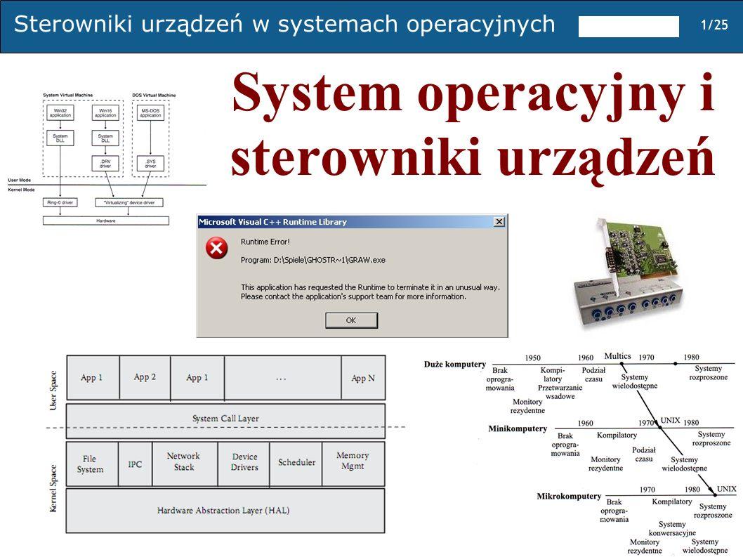 Sterowniki urządzeń w systemach operacyjnych 1/25 System operacyjny i sterowniki urządzeń