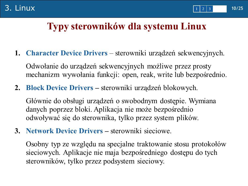 3. Linux 10/25 1 2345 Typy sterowników dla systemu Linux 1.Character Device Drivers – sterowniki urządzeń sekwencyjnych. Odwołanie do urządzeń sekwenc