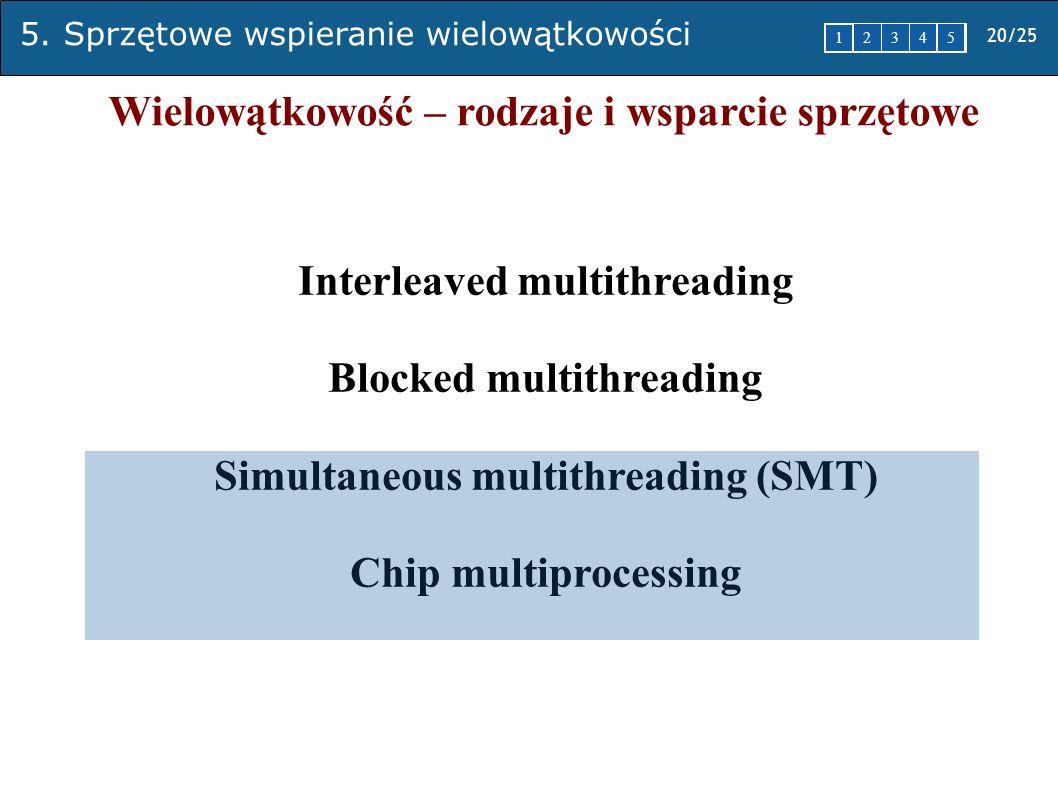 5. Sprzętowe wspieranie wielowątkowości 20/25 1 2345 Wielowątkowość – rodzaje i wsparcie sprzętowe Interleaved multithreading Blocked multithreading S