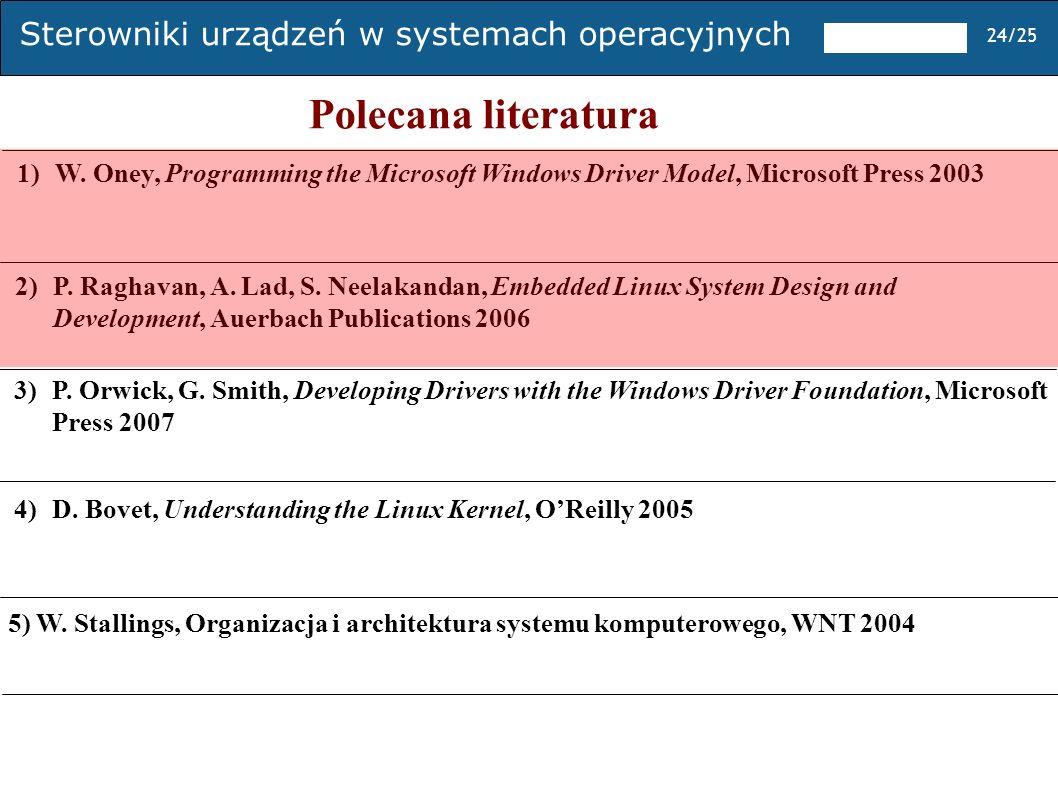 Sterowniki urządzeń w systemach operacyjnych 24/25 Polecana literatura 1) W. Oney, Programming the Microsoft Windows Driver Model, Microsoft Press 200