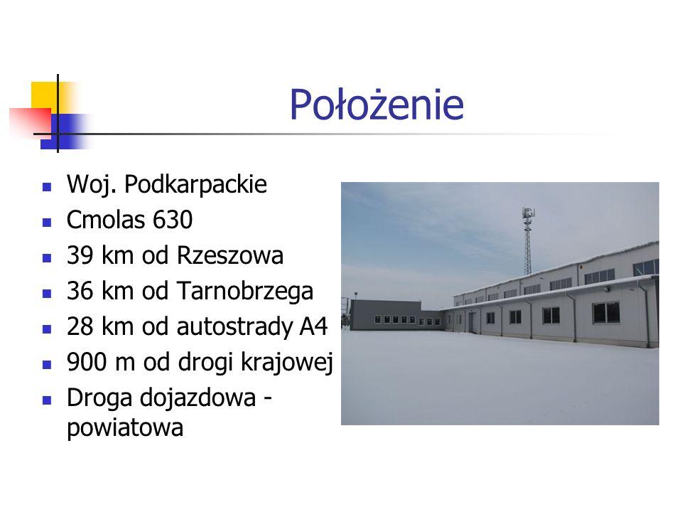 Położenie Woj. Podkarpackie Cmolas 630 39 km od Rzeszowa 36 km od Tarnobrzega 28 km od autostrady A4 900 m od drogi krajowej Droga dojazdowa - powiato