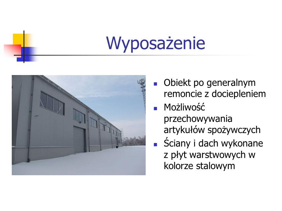 Wyposażenie Obiekt po generalnym remoncie z dociepleniem Możliwość przechowywania artykułów spożywczych Ściany i dach wykonane z płyt warstwowych w ko