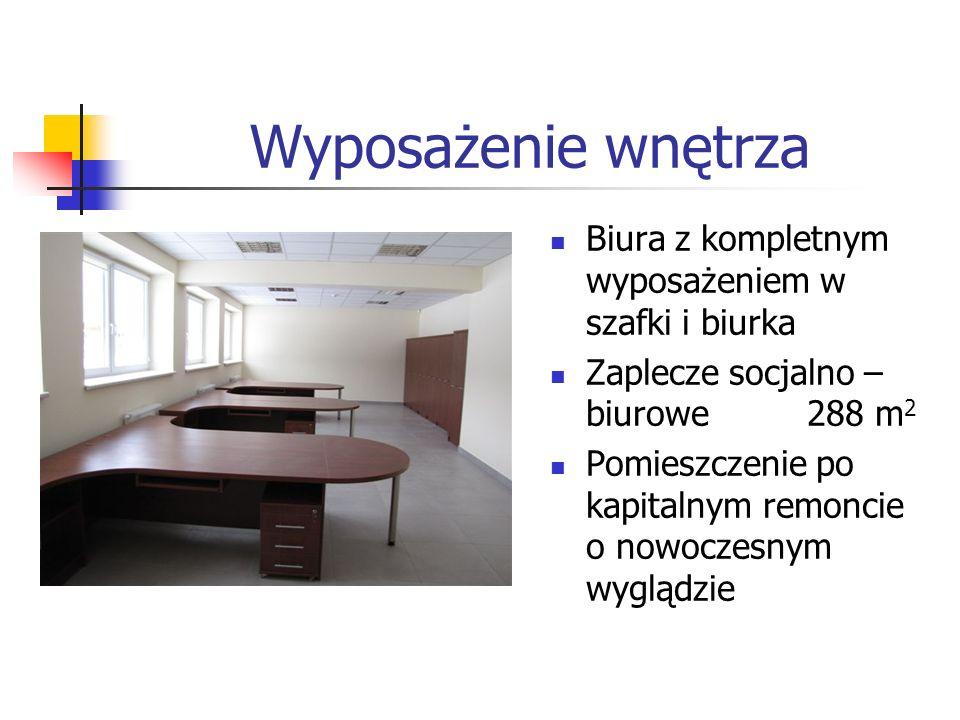 Wyposażenie wnętrza Biura z kompletnym wyposażeniem w szafki i biurka Zaplecze socjalno – biurowe 288 m 2 Pomieszczenie po kapitalnym remoncie o nowoc