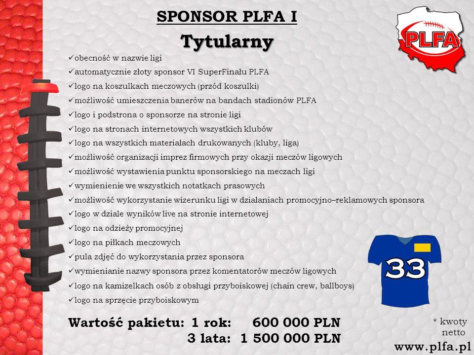 SPONSOR PLFA ITytularny obecność w nazwie ligi automatycznie złoty sponsor VI SuperFinału PLFA logo na koszulkach meczowych (przód koszulki) możliwość