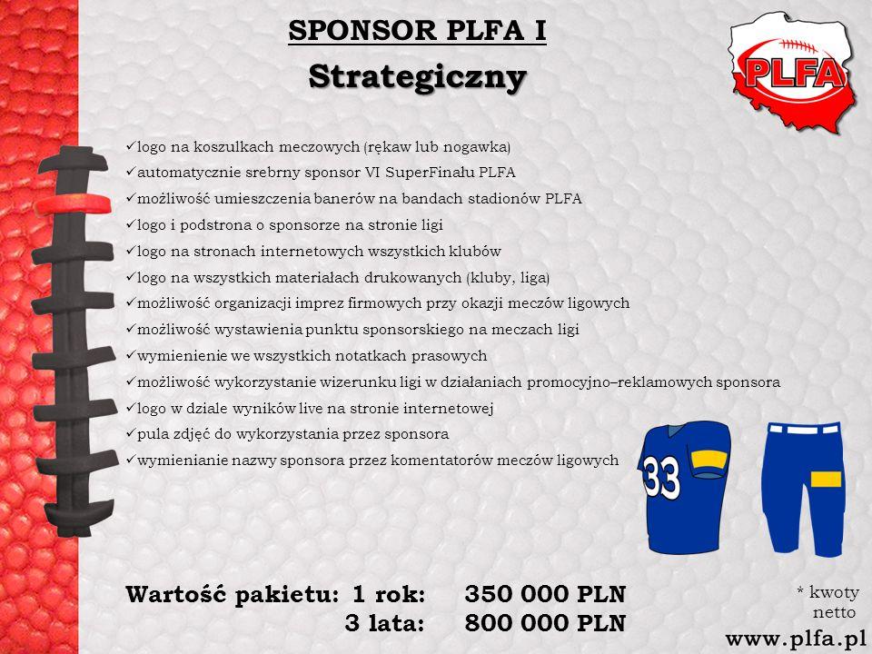 SPONSOR PLFA IStrategiczny logo na koszulkach meczowych (rękaw lub nogawka) automatycznie srebrny sponsor VI SuperFinału PLFA możliwość umieszczenia b