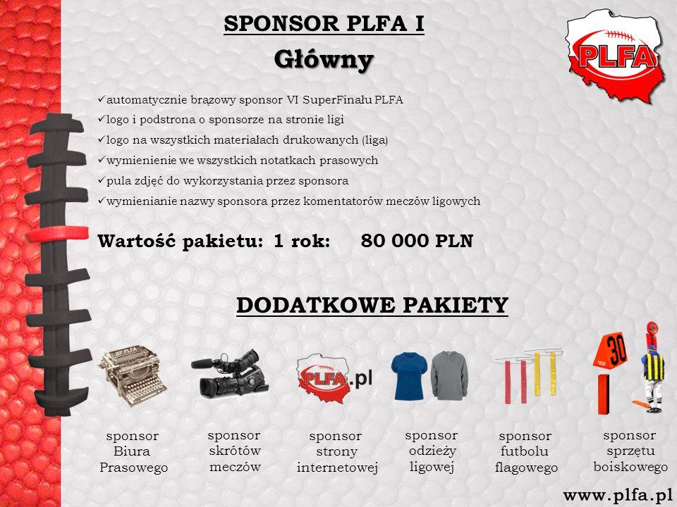SPONSOR PLFA IGłówny automatycznie brązowy sponsor VI SuperFinału PLFA logo i podstrona o sponsorze na stronie ligi logo na wszystkich materiałach dru