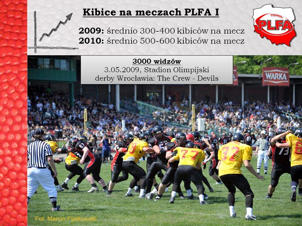 PLFA I 08: Warsaw Eagles – Pomorze Seahawks 2009: średnio 300-400 kibiców na mecz 2010: średnio 500-600 kibiców na mecz Kibice na meczach PLFA I 3000