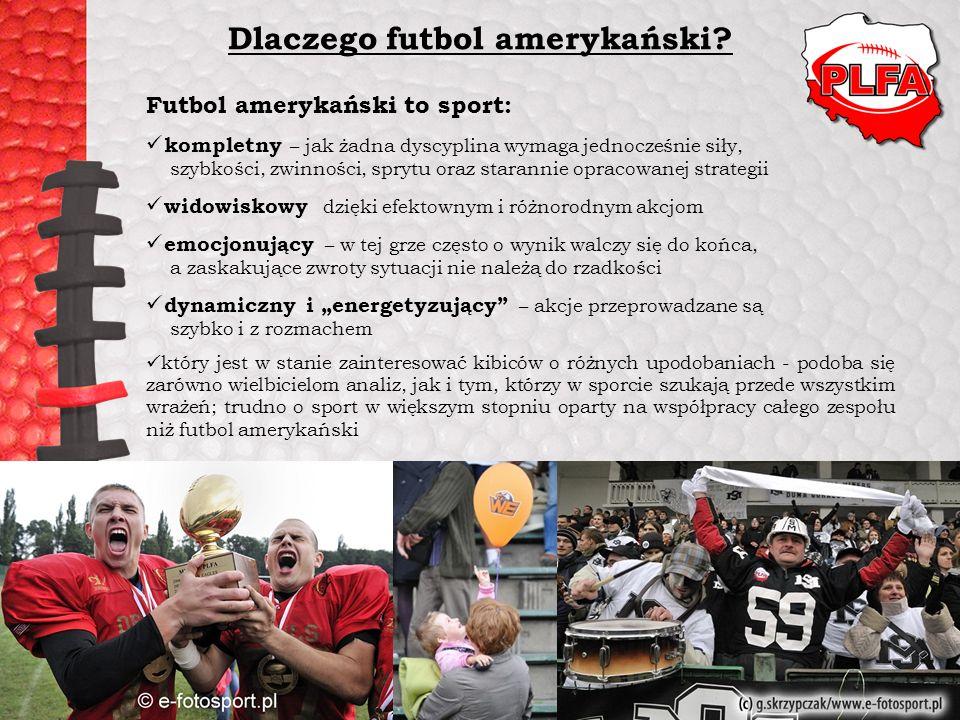 Dlaczego futbol amerykański? Futbol amerykański to sport: kompletny – jak żadna dyscyplina wymaga jednocześnie siły, szybkości, zwinności, sprytu oraz
