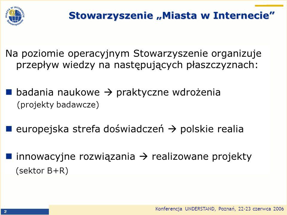 Konferencja UNDERSTAND, Poznań, 22-23 czerwca 2006 13 Wnioski na jutro Należy: ukończyć pracę nad kluczowymi z punktu widzenia eRozwoju dokumentami rządowymi (w tym aktami wykonawczymi do obowiązującego prawa) uprościć procedury wyboru projektów (model priorytetów) i rozliczania przedsięwzięć podnieść poziom wiedzy pracowników administracji publicznej (w tym udostępnić ogólnodostępną bazę wiedzy i najlepszych praktyk)
