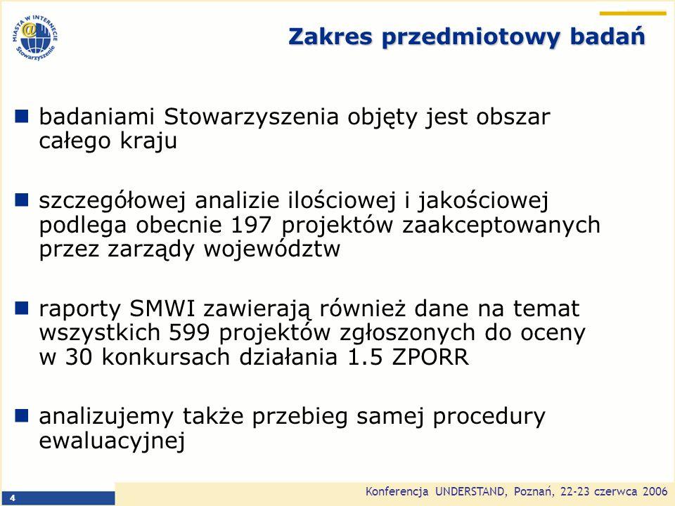 Konferencja UNDERSTAND, Poznań, 22-23 czerwca 2006 4 Zakres przedmiotowy badań badaniami Stowarzyszenia objęty jest obszar całego kraju szczegółowej analizie ilościowej i jakościowej podlega obecnie 197 projektów zaakceptowanych przez zarządy województw raporty SMWI zawierają również dane na temat wszystkich 599 projektów zgłoszonych do oceny w 30 konkursach działania 1.5 ZPORR analizujemy także przebieg samej procedury ewaluacyjnej