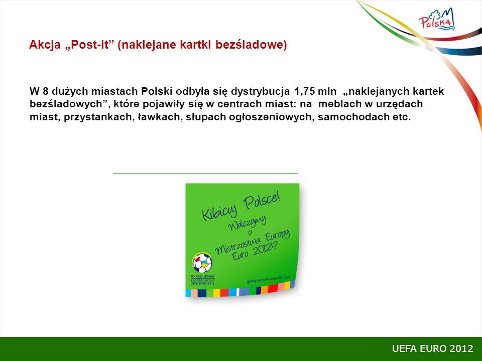 Akcja Post-it (naklejane kartki bezśladowe) W 8 dużych miastach Polski odbyła się dystrybucja 1,75 mln naklejanych kartek bezśladowych, które pojawiły