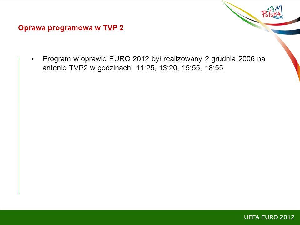 Oprawa programowa w TVP 2 Program w oprawie EURO 2012 był realizowany 2 grudnia 2006 na antenie TVP2 w godzinach: 11:25, 13:20, 15:55, 18:55. UEFA EUR