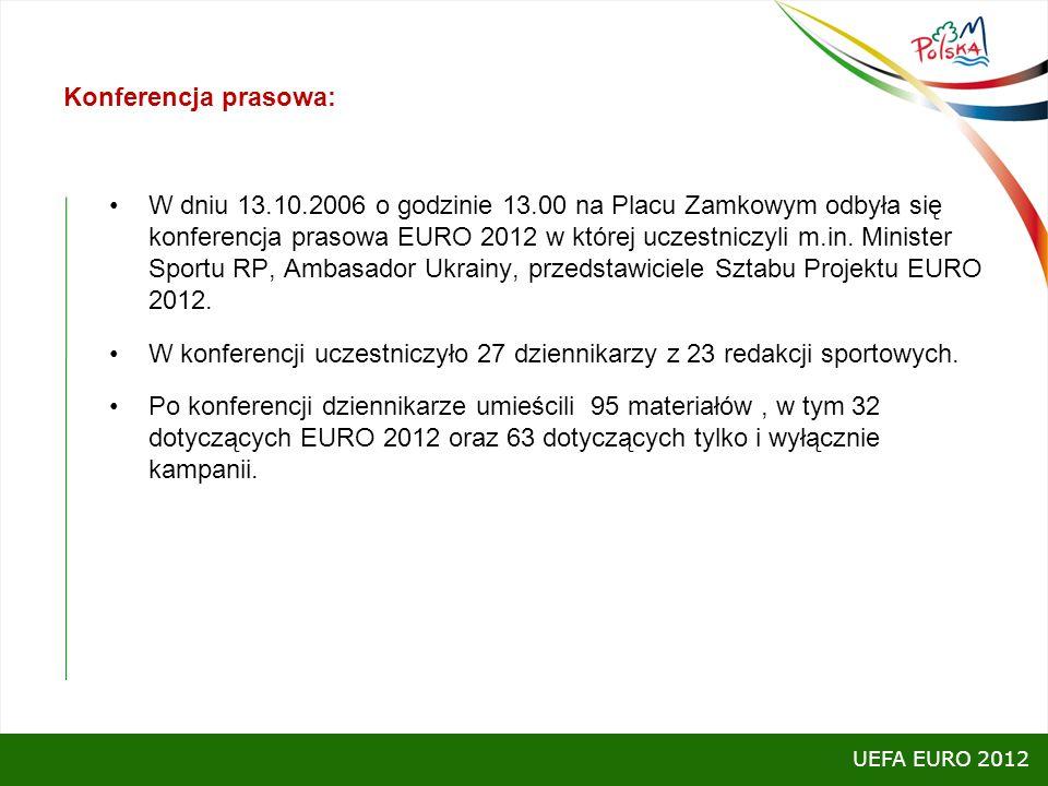 Konferencja prasowa: W dniu 13.10.2006 o godzinie 13.00 na Placu Zamkowym odbyła się konferencja prasowa EURO 2012 w której uczestniczyli m.in. Minist