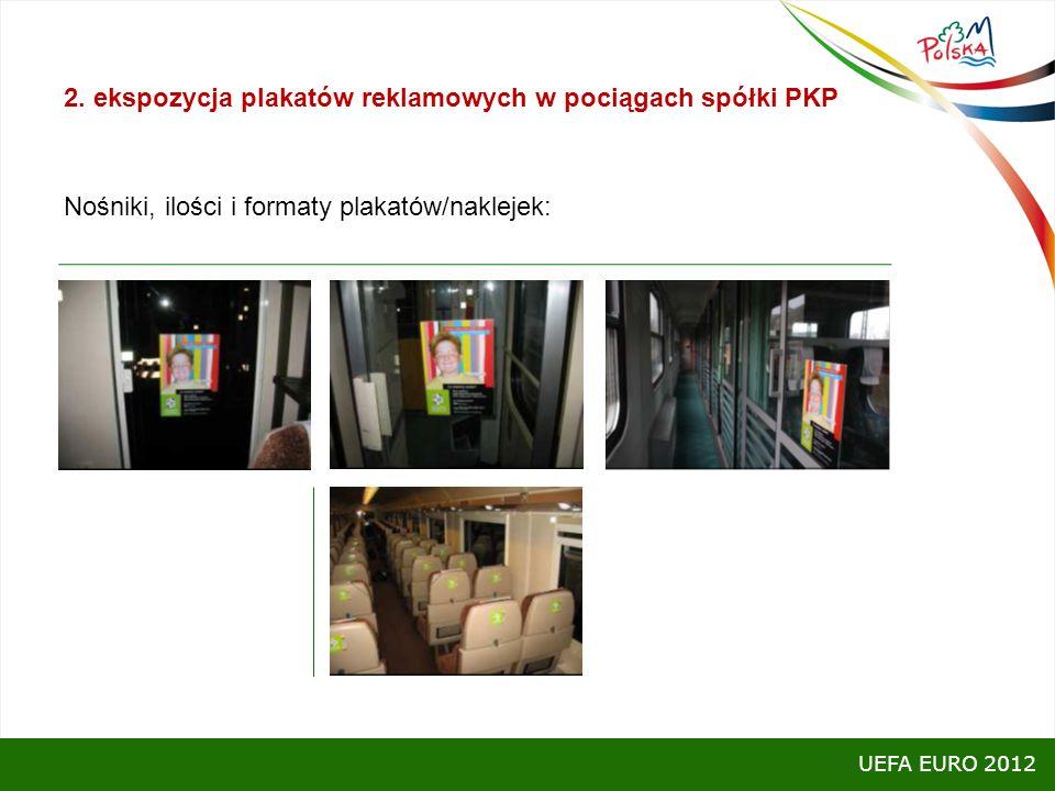 2. ekspozycja plakatów reklamowych w pociągach spółki PKP Nośniki, ilości i formaty plakatów/naklejek: akcja realizowana była w 6 pociągach Intercity: