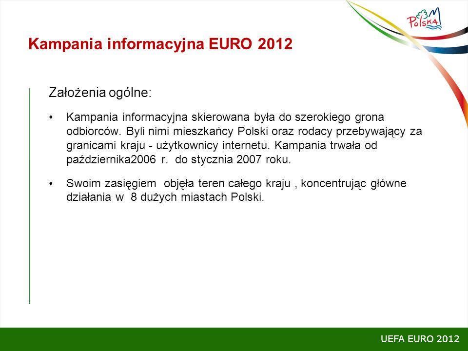 Kampania informacyjna EURO 2012 Założenia ogólne: Kampania informacyjna skierowana była do szerokiego grona odbiorców. Byli nimi mieszkańcy Polski ora
