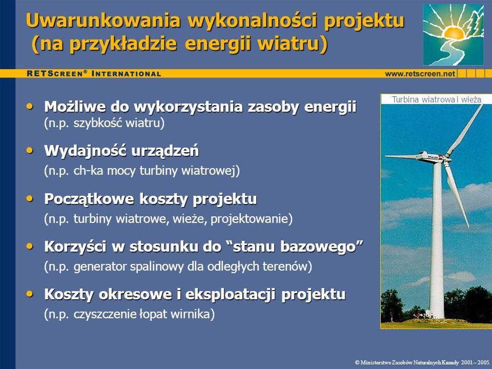 Demonstracja programu Koszt turbiny wiatrowej Scenariusz 1b 1 000 $/kW 16,5 lat 6,5% © Ministerstwo Zasobów Naturalnych Kanady 2001 – 2005.