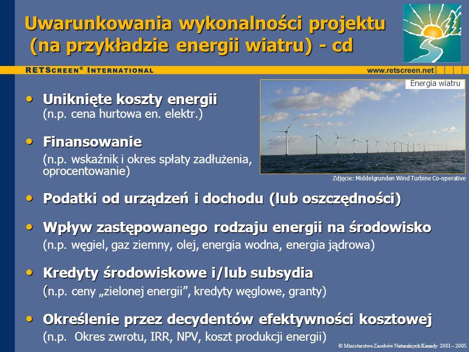 Demonstracja programu Korzyści z produkcji czystej energii Scenariusz 1c 0,025 $/kWh 10,1 lat 17,7% © Ministerstwo Zasobów Naturalnych Kanady 2001 – 2005.