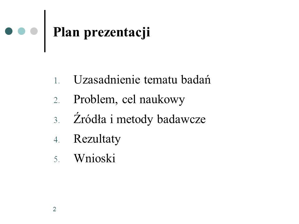 2 Plan prezentacji 1. Uzasadnienie tematu badań 2. Problem, cel naukowy 3. Źródła i metody badawcze 4. Rezultaty 5. Wnioski
