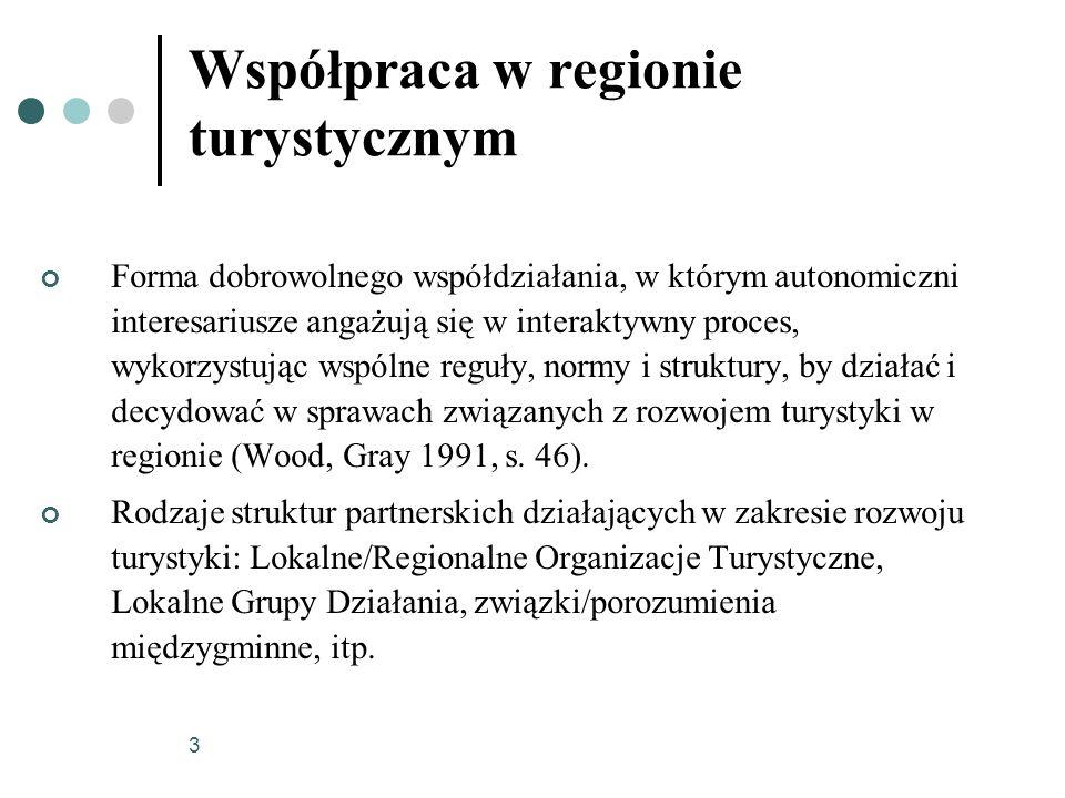 3 Współpraca w regionie turystycznym Forma dobrowolnego współdziałania, w którym autonomiczni interesariusze angażują się w interaktywny proces, wykor