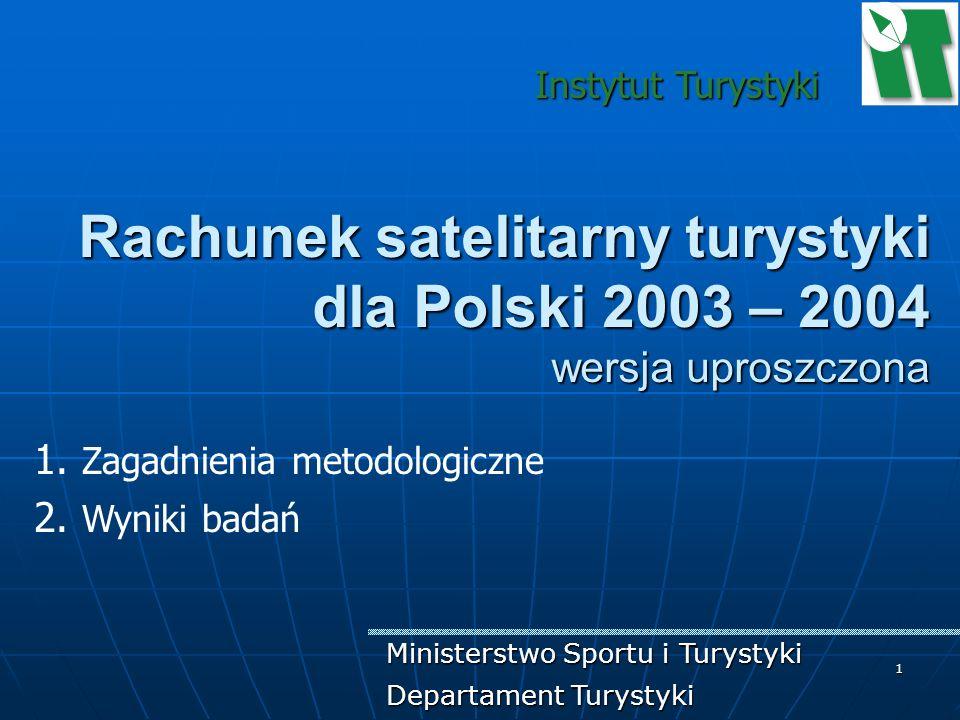 1 Rachunek satelitarny turystyki dla Polski 2003 – 2004 wersja uproszczona 1. Zagadnienia metodologiczne 2. Wyniki badań Instytut Turystyki Ministerst